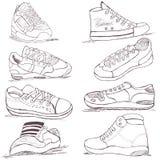 Tennisschoeneninzameling Stock Afbeeldingen