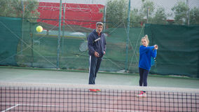 Tennisschool openlucht Stock Afbeelding