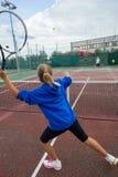 Tennisschule im Freien Stockfotos