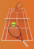 Tennisspel - denkbeeldig spel tussen twee spelers Royalty-vrije Stock Foto