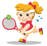 Tennisspelare med en racket i hennes hand royaltyfri illustrationer