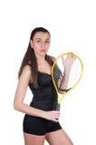 Tennisspelare som isoleras på vit arkivfoto