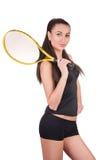 Tennisspelare som isoleras på vit royaltyfria bilder