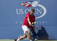 Tennisspelare Stanislas Wawrinka under semifinal Royaltyfria Bilder