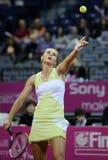 Tennisspelaren Magdalena Rybarikova tjänar som bollen under tennismatch Royaltyfria Bilder