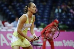 Tennisspelaren Magdalena Rybarikova väntar bollen under tennismatch Royaltyfri Fotografi
