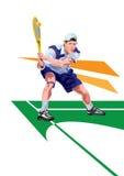 Tennisspeler, beeldverhaal en vectorsportkarakter - illustratie Stock Foto