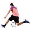 Tennisspeler die voor de bal erachter springen van Royalty-vrije Stock Afbeelding