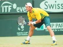 Tennisspeler Llayton Hewitt tijdens Davis Cup-dubbelen versus de V.S. Stock Afbeeldingen