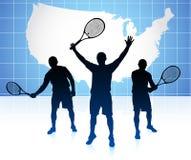 Tennisspeler met de Kaartachtergrond van Verenigde Staten Royalty-vrije Stock Fotografie