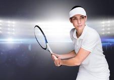Tennisspeler tegen verstralers Stock Foto's