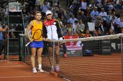 Tennisspelers Simona Halep en Angelique Kerber Royalty-vrije Stock Afbeelding