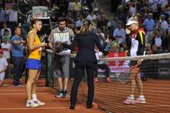 Tennisspelers Simona Halep en Angelique Kerber Royalty-vrije Stock Foto's