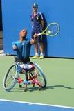 Tennisspieler Lucas Sithole von Südafrika während US Open-Rollstuhlviererkabels 2014 sondert Match aus Stockbilder