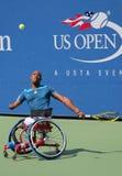 Tennisspieler Lucas Sithole von Südafrika während US Open-Rollstuhlviererkabels 2014 sondert Match aus Lizenzfreie Stockbilder