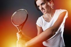 Tennisspieler mit Blitzen Stockfoto