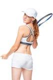 Tennisspieler mit einem Schläger und dem Ball zurück schauen Lizenzfreie Stockbilder