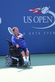 Tennisspieler Nicholas Taylor von Vereinigten Staaten während US Open-Rollstuhlviererkabels 2014 sondert Match aus Lizenzfreie Stockbilder