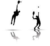 Tennisspielerschattenbild lizenzfreie abbildung