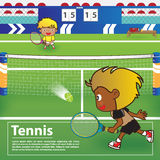 Tennissport med tecknad filmteckendesign Arkivfoton