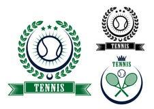 Tennissportemblem eller emblem Royaltyfri Fotografi