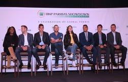 Tennissupersters tijdens persconferentie vóór BNP Paribas-het tennisgebeurtenis van de Krachtmetings 10de Verjaardag bij Essex-Hu Stock Foto