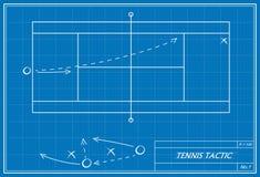 Tennistaktik auf Plan Lizenzfreies Stockfoto