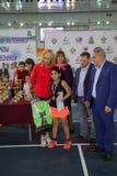 Tennistoernooien voor prijzen van Elena Vesnina Stock Foto