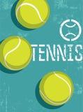 Tennisweinleseschmutz-Artplakat Retro- Vektorillustration mit Tennisbällen vektor abbildung