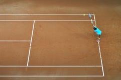 Tenniswoman in actie Stock Foto's