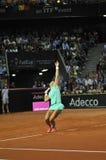 Tenniswoman in actie Royalty-vrije Stock Foto