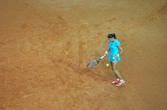 Tenniswoman na ação Fotos de Stock