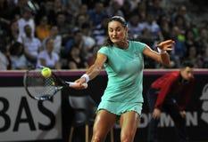 Tenniswoman na ação Fotos de Stock Royalty Free