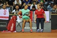 Tenniswoman nell'azione Immagini Stock Libere da Diritti