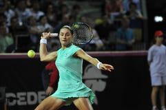 Tenniswoman nell'azione Immagine Stock