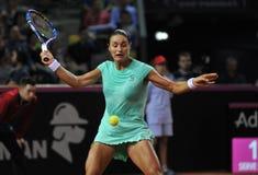 Tenniswoman nell'azione Fotografia Stock Libera da Diritti