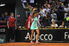 Tenniswoman w akci Zdjęcie Royalty Free