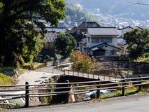 Teno village in Aso volcanic caldera - Kumamoto prefecture, Japan. Teno village in Aso volcanic caldera, home to historic Kokuzo Shrine, part of Aso-Kuju stock photos