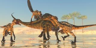Tenontosaurus Attack Stock Photo