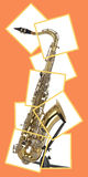 Tenor sax in boxed puzzle. Brass tenor saxophone with silver valves and pearl buttons on a stand and in a boxed puzzle Royalty Free Stock Image