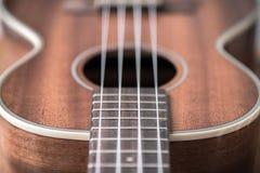 Close-up of tenor ukulele frets and strings selective focus. Tenor ukulele close-up of frets and strings on fretboard near ukulele body royalty free stock photos