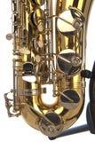 Tenorowego saksofonu brzuch w zakończeniu up zdjęcie royalty free