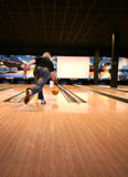Tenpin Bowling. Bowling Sport - Player in Action - Motion and Movement stock photo