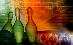 Tenpin and dollar ball. Digital illustration of Royalty Free Stock Images