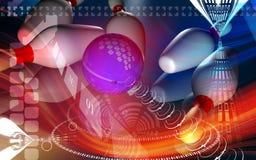 Tenpin and dollar ball. Digital illustration of Royalty Free Stock Image