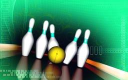 Tenpin and dollar boll. Digital illustration of Stock Photo
