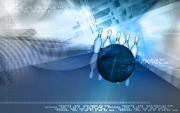 Tenpin and dollar boll. Digital illustration of Stock Photography