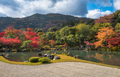Tenryu-ji garden in fall, Arashiyama, Kyoto, Japan Royalty Free Stock Image