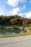 Tenryuji,京都五颜六色的禅宗庭院  免版税库存照片