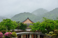 Tenryuji Temple in the rain. Arashiyama Kyoto Japan. The natural scene of raining and the garden of Tenryuji temple, Arashiyama Kyoto Japan spring Stock Image